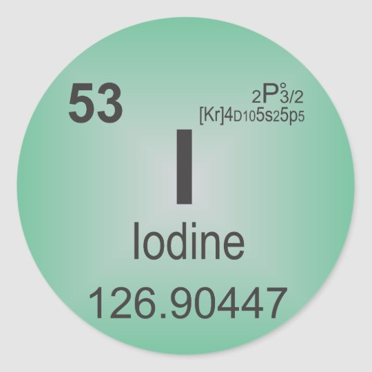 Iodine Individual Element of the Periodic Table Classic Round Sticker
