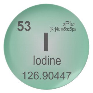 Iodine Individual Element of the Periodic Table Melamine Plate