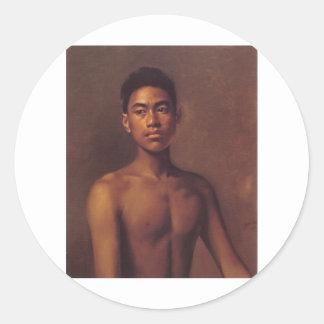 'Iokepa, Hawaiian Fisher Boy', oil on canvas Classic Round Sticker