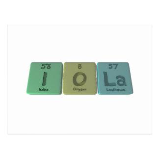Iola as Iodine Oxygen Lanthanum Postcard