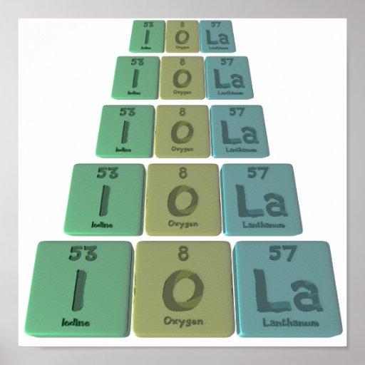 Iola as Iodine Oxygen Lanthanum Posters