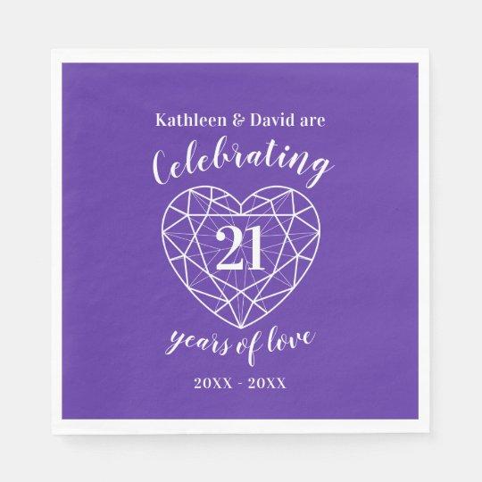 Iolite Wedding Anniversary 21 Years Of Love Napkin