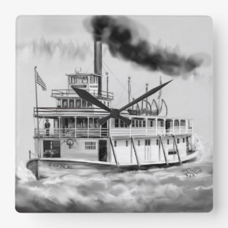 Ione Steam Boat the Hidden side Square Wall Clock