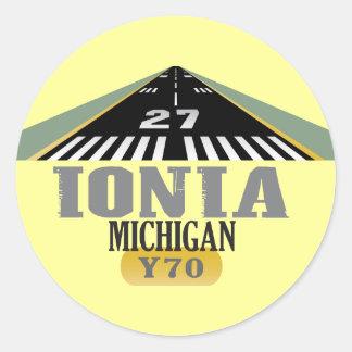 Ionia MI - Airport Runway Classic Round Sticker
