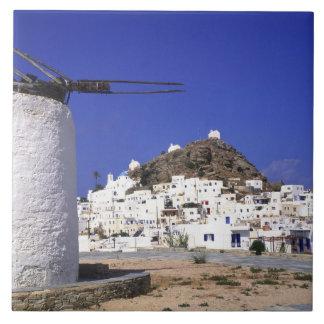 Ios, Greece. The beautful and crisp, white and Ceramic Tile
