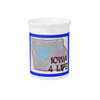 """Iowa 4 Life"" State Map Pride Design Drink Pitcher"