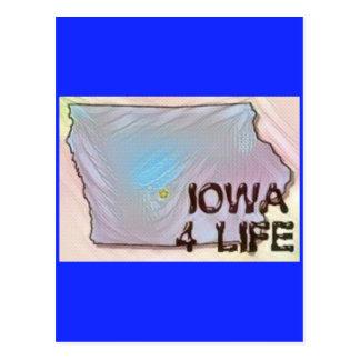 """Iowa 4 Life"" State Map Pride Design Postcard"