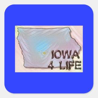 """""""Iowa 4 Life"""" State Map Pride Design Square Sticker"""