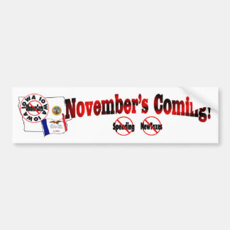 Iowa Anti ObamaCare – November's Coming! Bumper Sticker