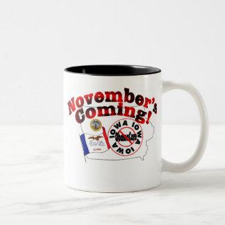 Iowa Anti ObamaCare – November's Coming! Two-Tone Coffee Mug