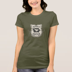 Women's Bella Jersey T-Shirt with Iowa Birder design