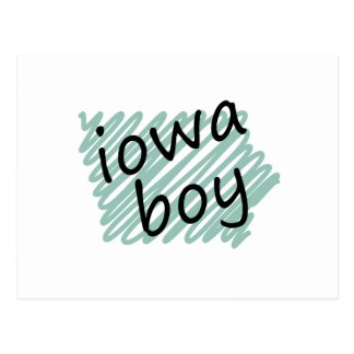Iowa Boy on Child's Iowa Map Drawing Postcard