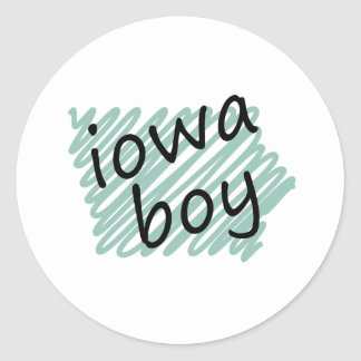 Iowa Boy on Child's Iowa Map Drawing Round Sticker
