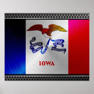 Iowa brushed metal flag poster