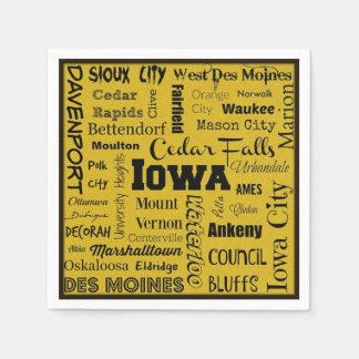 Iowa cities typography napkins