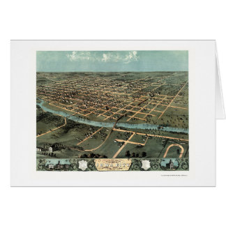 Iowa City, IA Panoramic Map - 1868 Card