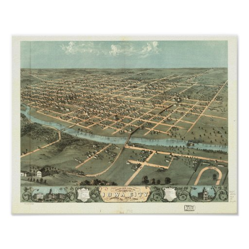 Iowa City Iowa 1868 Antique Panoramic Map Poster