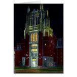 Iowa City Iowa Hospital Tower at Night Greeting Card