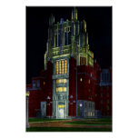 Iowa City Iowa Hospital Tower at Night Poster
