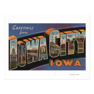Iowa City, Iowa - Large Letter Scenes Postcard