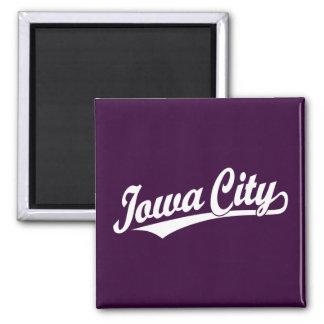 Iowa City script logo in white 2 Inch Square Magnet