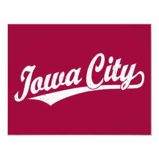 Iowa City script logo in white distressed Card