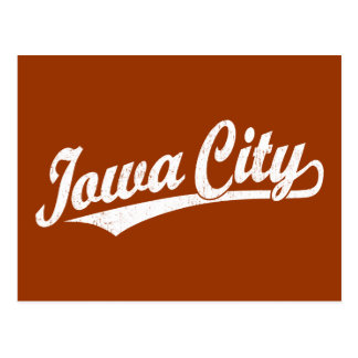 Iowa City script logo in white distressed Postcard