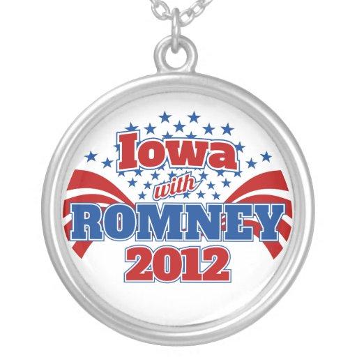 Iowa con Romney 2012 Colgante Redondo