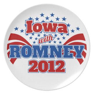 Iowa con Romney 2012 Platos De Comidas
