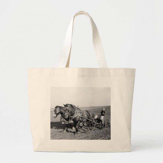 Iowa Corn Planter, 1940s Large Tote Bag