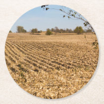 Iowa Cornfield Panorama Photo Round Paper Coaster