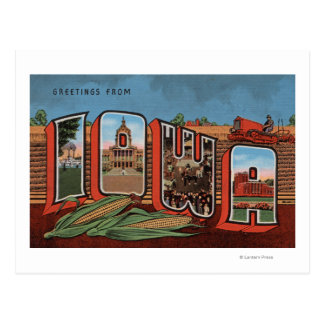 Iowa (Cornfields & Corn) - Large Letter Scenes Postcard