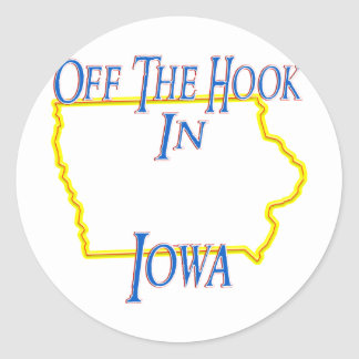 Iowa - del gancho pegatina redonda