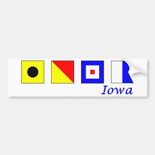 Iowa deletreó en alfabeto náutico de la bandera pegatina para auto