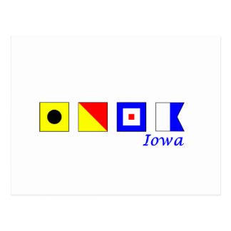Iowa deletreó en alfabeto náutico de la bandera tarjetas postales
