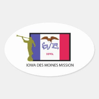 IOWA DES MOINES MISSION LDS CTR OVAL STICKER