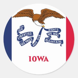 Iowa, Estados Unidos señala por medio de una Pegatina Redonda