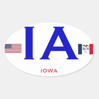 Iowa European Style OvalSticker Oval Sticker