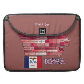 Iowa flag and County Map in Iowa Colors Sleeve For MacBook Pro