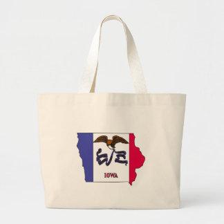 Iowa Flag Map Canvas Bag