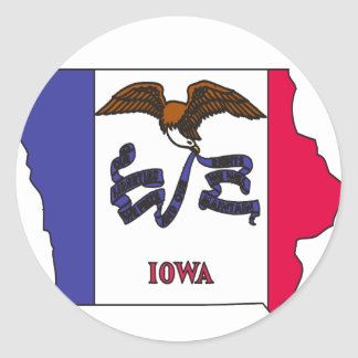 Iowa Flag Map Classic Round Sticker