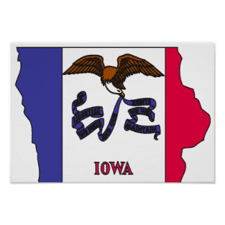 Iowa Flag Map Poster