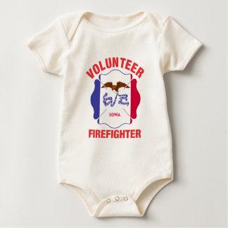 Iowa Flag Volunteer Firefighter Cross Baby Bodysuit