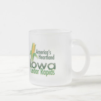 IOWA FROSTED GLASS COFFEE MUG
