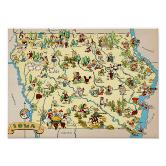 Iowa Funny Map Poster
