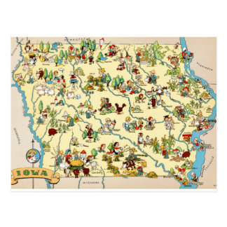 Iowa Funny Vintage Map Postcard