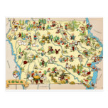 Iowa Funny Vintage Map Postcards