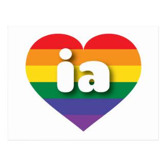 Iowa gay pride rainbow pride heart - mini love postcard