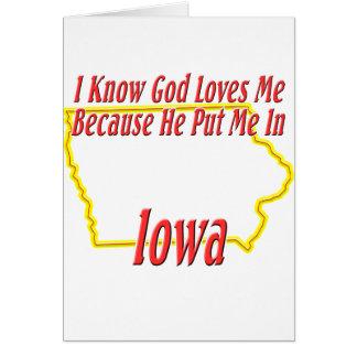 Iowa - God Loves Me Card
