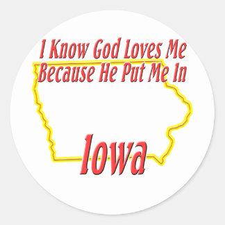 Iowa - God Loves Me Sticker